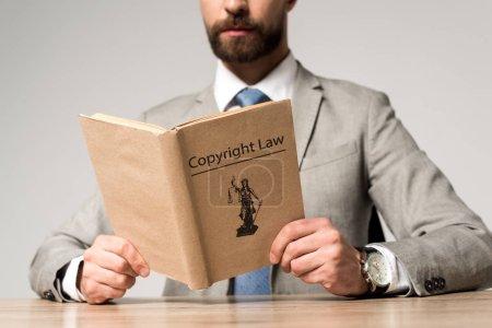 Photo pour Vue partielle d'un livre d'avocat avec titre de droit d'auteur isolé sur gris - image libre de droit