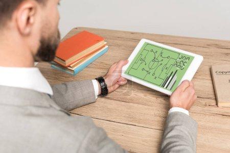 Photo pour Vue recadrée d'un homme d'affaires jouant à un jeu vidéo sur tablette numérique isolé en gris - image libre de droit