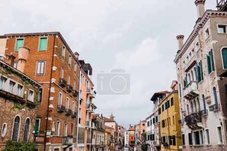 ancient and colorful buildings with plants in Venice, Italy