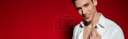smiling sexy young elegant man in unbuttoned shirt on red background, panoramic shot