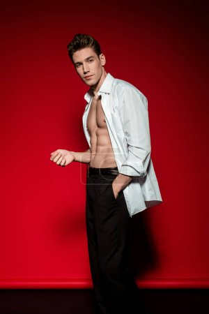 Photo for Sexy young elegant man in unbuttoned shirt with muscular bare torso posing with hand in pocket on red background - Royalty Free Image