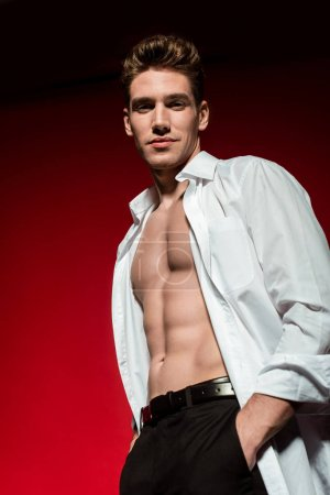 Photo for Low angle view of sexy young elegant man in unbuttoned shirt with muscular bare torso posing with hands in pockets on red background - Royalty Free Image