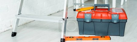 Photo for Panoramic shot of toolbox near ladder - Royalty Free Image