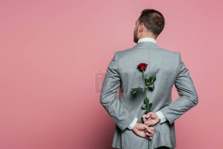Photo pour Back view of man in suit holding red rose, isolated on pink - image libre de droit