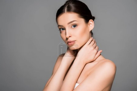 Photo for Portrait of beautiful woman with perfect skin, isolated on grey - Royalty Free Image