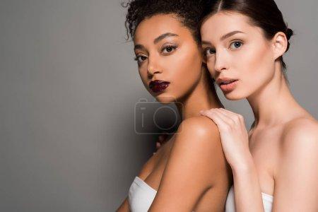 Foto de Retrato de atractivas chicas multirraciales con piel perfecta, en gris. - Imagen libre de derechos