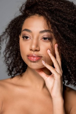 Photo for Portrait of attractive african american girl with beautiful lips, isolated on grey - Royalty Free Image