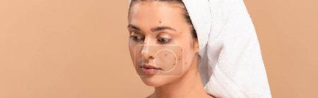 Photo pour Photo panoramique d'une fille atteinte d'acné sur le visage isolée sur beige - image libre de droit