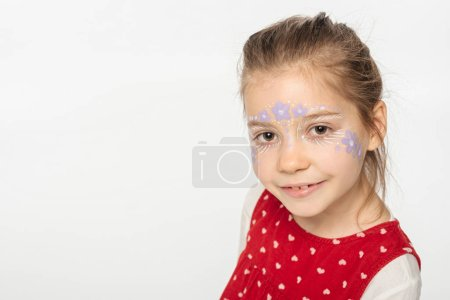Photo for Smiling child with floral painting on face looking at camera isolated on white - Royalty Free Image
