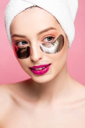 Photo for Beautiful and naked woman in eye patches isolated on pink - Royalty Free Image