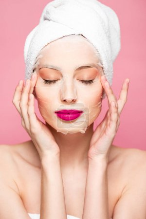 Photo for Naked girl in moisturizing face mask with closed eyes isolated on pink - Royalty Free Image