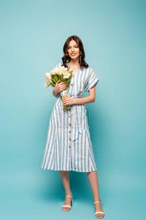 Photo pour Vue pleine longueur de belle jeune femme tenant bouquet de tulipes blanches tout en souriant à la caméra sur fond bleu - image libre de droit