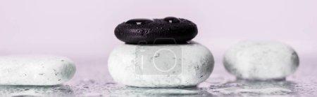 Photo pour Photo panoramique de douze pierres avec gouttes d'eau sur verre mouillé sur fond violet - image libre de droit