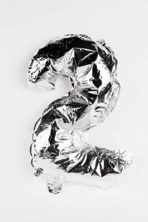Photo for Silver balloon in shape of two number on grey background - Royalty Free Image