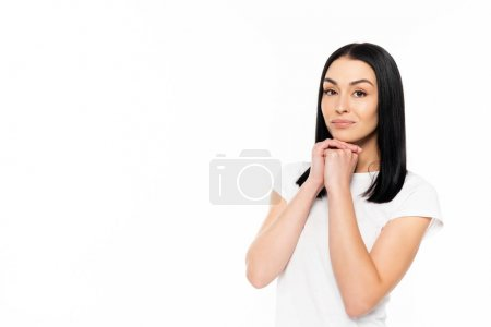 Photo for Attractive woman looking at camera isolated on white - Royalty Free Image
