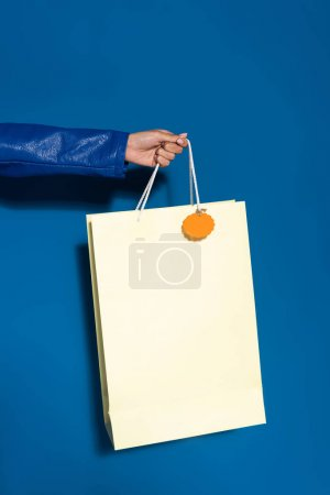 Photo for Cropped view of african american woman holding shopping bag with blank label on blue - Royalty Free Image
