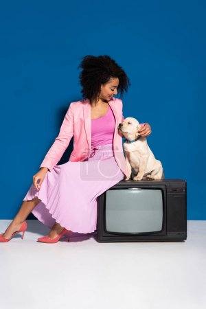 Photo for Smiling african american woman sitting on vintage tv with golden retriever puppy on blue background - Royalty Free Image