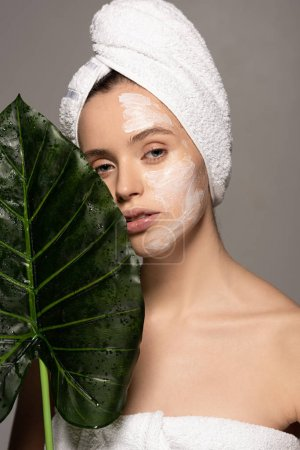 Photo for Attractive girl with cosmetic mask on face and towel on head posing with green leaf, isolated on grey - Royalty Free Image