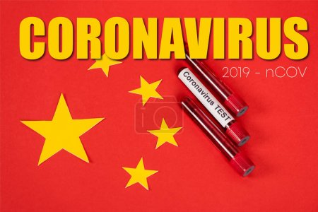 Photo pour Top view of samples with coronavirus test and coronavirus, 2019-ncov lettering near red chinese flag - image libre de droit