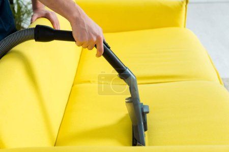 Photo for Cropped view of cleaner dry cleaning modern sofa with vacuum cleaner - Royalty Free Image