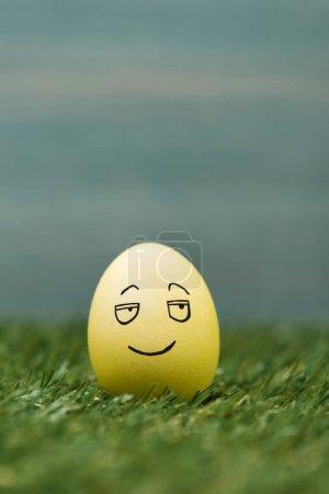 Photo pour Œuf de Pâques avec expression souriante du visage sur l'herbe - image libre de droit