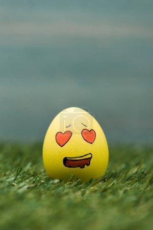 Photo pour Œuf de Pâques avec expression faciale émue sur l'herbe - image libre de droit