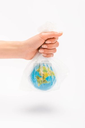 Photo pour Partial view of woman holding plastic bag with globe on white background, global warming concept - image libre de droit