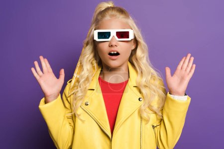 shocked kid with 3d glasses and outstretched hands on purple background