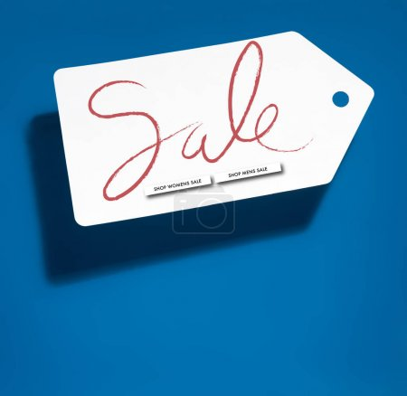 Photo for White big price tag with online shopping sale on blue background - Royalty Free Image