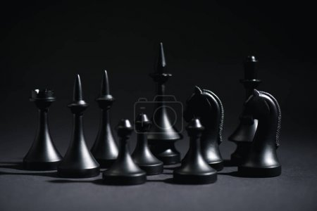 Photo for Selective focus of chess figures on black - Royalty Free Image