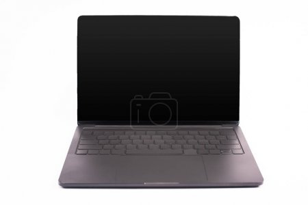 Photo for Black and modern laptop with blank screen isolated on white - Royalty Free Image