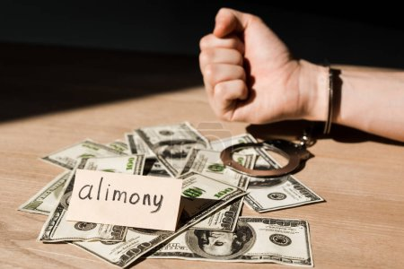 selective focus of handcuffed man near dollar banknotes and paper with alimony lettering