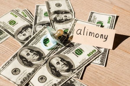 baby nipple on dollar banknotes near paper with alimony lettering