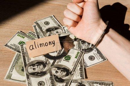Photo pour Vue recadrée de l'homme menotté près des billets en dollars et du papier avec lettrage de pension alimentaire - image libre de droit