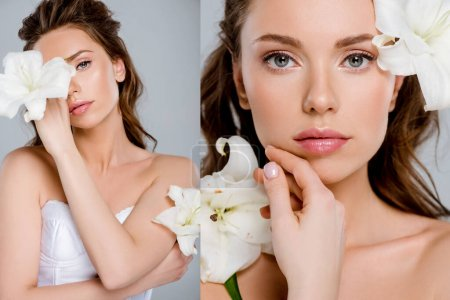 Photo pour Collage of beautiful girl touching face near white flowers isolated on grey - image libre de droit