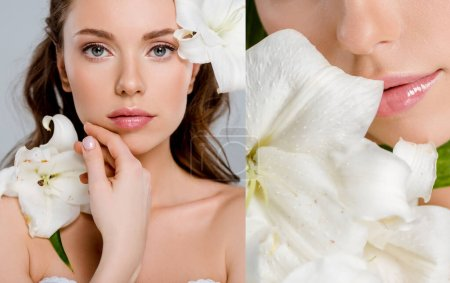Photo for Collage of attractive girl touching face near white flowers isolated on grey - Royalty Free Image
