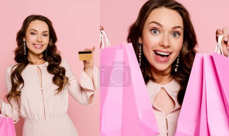 Foto de Collage of excited girl holding shopping bags and credit card isolated on pink pink. - Imagen libre de derechos