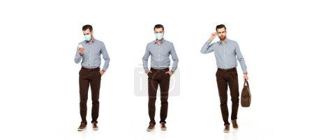 Photo pour Collage d'homme d'affaires dans un sac de maintien de masque médical, debout avec les mains dans les poches et en utilisant smartphone isolé sur blanc - image libre de droit