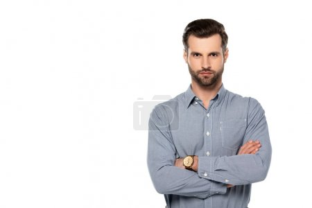 Photo for Handsome man standing with crossed arms isolated on white - Royalty Free Image