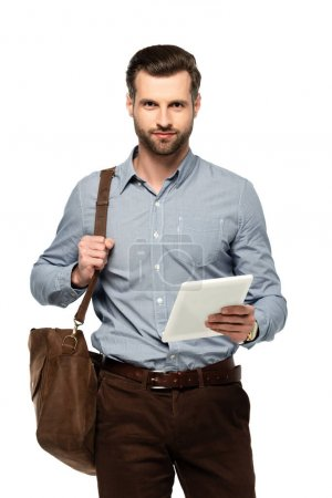 handsome businessman with bag holding digital tablet isolated on white