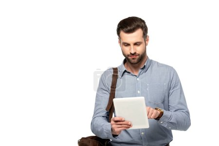 Photo for Bearded businessman with bag using digital tablet isolated on white - Royalty Free Image