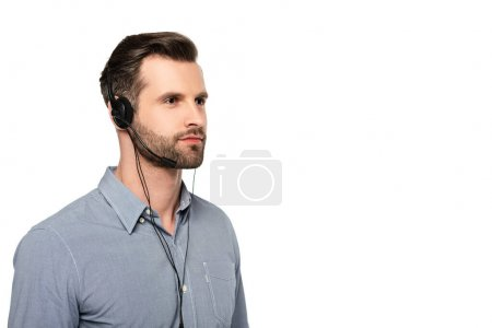 handsome and bearded operator in headset isolated on white