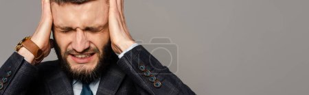 Photo for Handsome bearded businessman in suit covering ears with hands isolated on grey, panoramic crop - Royalty Free Image