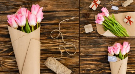 Photo for Collage of tags with mom lettering near presents and tulips on wooden surface, mothers day concept - Royalty Free Image