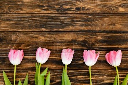 Photo pour Vue de dessus des tulipes roses sur la surface en bois, concept de fête des mères - image libre de droit