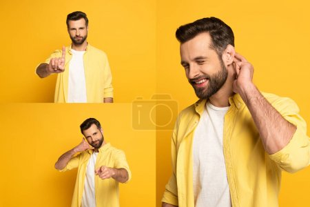 Photo pour Collage of handsome man showing gestures in deaf and dumb language on yellow background - image libre de droit