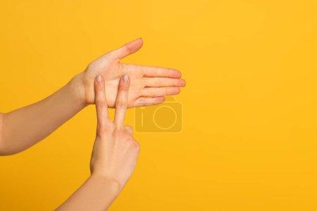 Photo pour Vue recadrée des mains féminines montrant un geste dans un langage sourd et muet sur fond jaune - image libre de droit