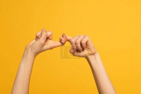 Photo pour Vue recadrée de la femme montrant des amis mot du langage des signes isolé sur jaune - image libre de droit