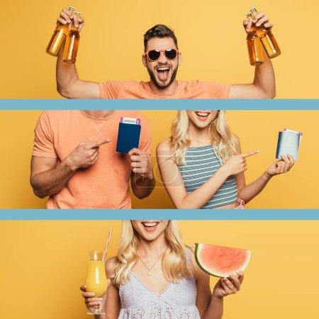 Photo pour Collage de couple heureux pointant du doigt les passeports et les billets d'avion, homme tenant de la bière et fille avec une tranche de pastèque et du jus d'orange sur jaune - image libre de droit