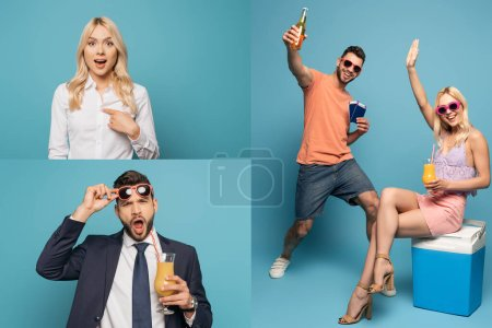 Photo for Collage of surprised businesspeople and happy couple with passports, air tickets, drinks and portable fridge on blue background - Royalty Free Image